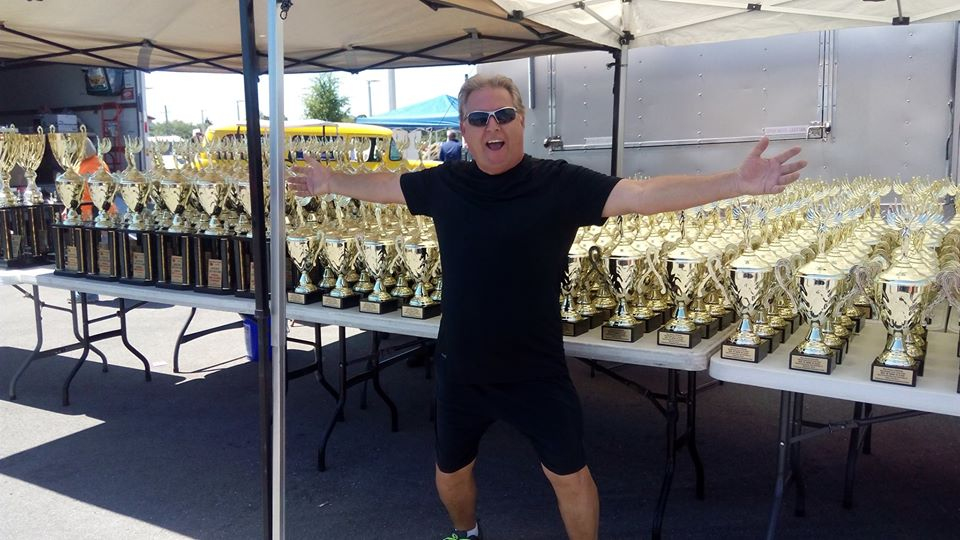 Florida Car Show Trophies with man